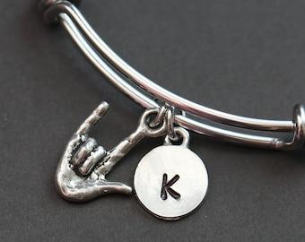 Sign Language Bracelet, I Love You Bracelet, Best Friend Bracelet, Personalized Initial Bracelet, BFF Bracelet, I Love You Sign Language