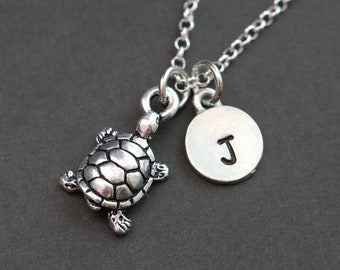 Turtle Necklace, Personalized Necklace with a Turtle, Initial Necklace, Turtle Lover Gift, Sea Turtle Necklace, Charm Necklace