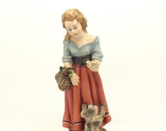 Capodimonte Porcelain Figurine Girl Feeding Dog Vintage Italian Porcellana
