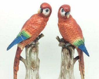 """Antique Porcelain Parrot Macaw Bird Figurine Gold Anchor Samson 8"""" 20cm AF"""