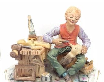 """Capodimonte Porcelain Figure Pinocchio Geppetto Italiana Porcellana 7.5"""" 19cm"""