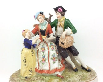 """Continental German Dresden Porcelain Figurine Group Family with Bird 22cm 8.5"""""""