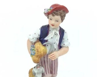 "Naples Italy Capodimonte Porcelain Figure Boy with Dog 6"" 15cm Summer Harvest"