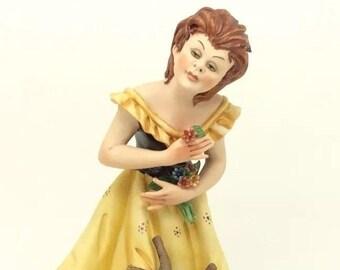Cortese Lady with Flowers Capodimonte Porcelain Figurine Italiana Porcellana