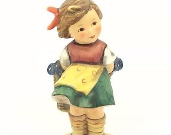 Hummel Goebel Figurine Bashful Girl with Flowers 377 TMK5 West Germany Porcelain
