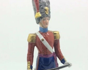Sitzendorf Porcelain Soldier Figurine Colastream Guards 1840 German Dresden 8.5""