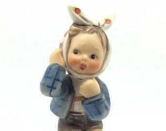 Hummel Goebel Figurine Toothache Boy with Scarf TMK4 FM4 217 Vintage Porcelain