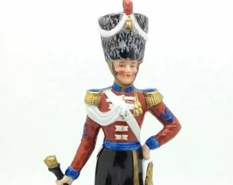 Sitzendorf Porcelain Soldier Figurine Royal Irish Fusiliers Drum Major 1828 9""