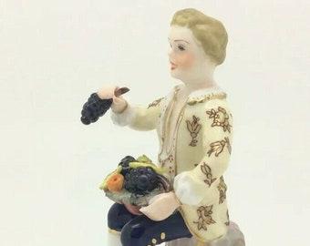 English Porcelain Figurine ROYAL CROWN DERBY Fruit Seller c1950s