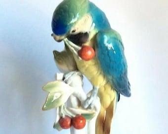 "Karl Ens Volkstedt Porcelain Figurine Macaw Parrot Bird Cherry 12"" Ornithology"