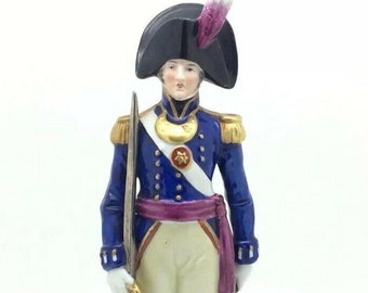German Sitzendorf Porcelain Soldier Figurine 1799 56th Reg of Foot Rare 8.5""