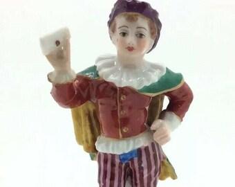 """Antique English Derby Porcelain Figurine Man with Letter 4"""" 10cm AF"""