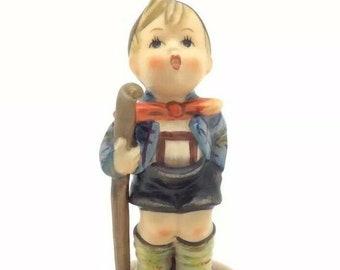 Vintage Porcelain Hummel Goebel Figurine Little Hiker Boy Walking Stick TMK3 76