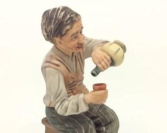 Continental Porcelain Franco Capodimonte Drinking Wine Figure Porcellana
