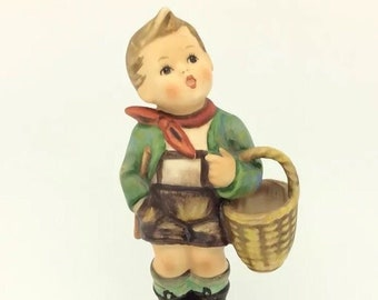 Hummel Goebel Vintage Porcelain Figurine Village Boy with Basket TMK6 51 13cm 5""