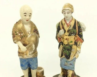 "Antique Japanese Meiji Satsuma Pottery Figure Man Woman Harvest 5"" 13cm Signed"