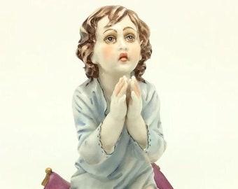 """Praying Girl on Pillow Capodimonte Porcelain Figurine Italiana Porcellana 5.5"""""""