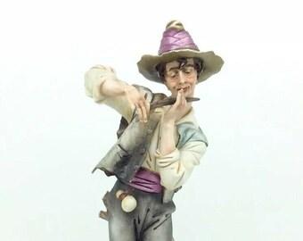 Capodimonte IPA Italian Porcelain Figurine Vintage Wanderer Boy Musician Flute