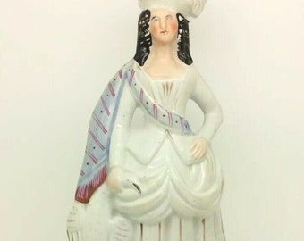 "Antique Staffordshire English Hunter Lady Bird Prey White Porcelain Figure 12"""