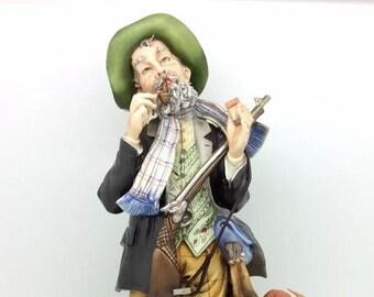 "Capodimonte Hunter Dog Rabbit Figure Cortese Italian Porcelain 29cm 11.5"""