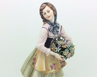Capodimonte IPA Porcelain Figurine Girl with Flowers Italian 22cm 8.7""