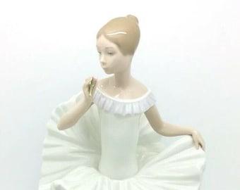 "Lladro Nao Porcelain Figurine DREAM COME TRUE Sitting Ballerina Figure 24cm 9.5"""