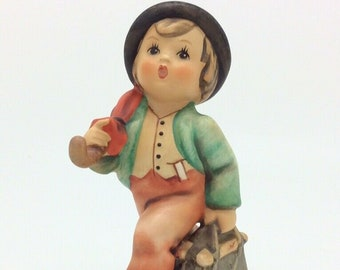 Vintage Hummel Goebel TMK5 11 Merry Wanderer Boy in Hat Umbrella Suitcase Figure