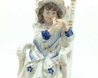 "Antique English British Porcelain Figurine Victorian Girl Chair with Bird 5.5"""
