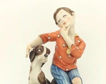 "Volta Capodimonte Boy with Puppy Dog Figure Porcellana 15cm 6"" Vintage"