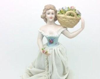 """Antique Dresden Lace Porcelain Lady Figurine Capodimonte Naples Italy 9"""" 23cm"""