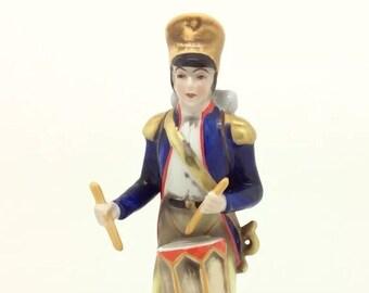 Vintage Continental German Porcelain Soldier Drum Figure Blue N with Crown