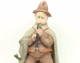 "Italian Porcelain Musician playing Flute Figurine Vintage Capodimonte 8.5"" 22cm"