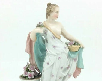 Antique German Porcelain Triebner Ens Eckert Volkstedt Season Muse Figurine 1894