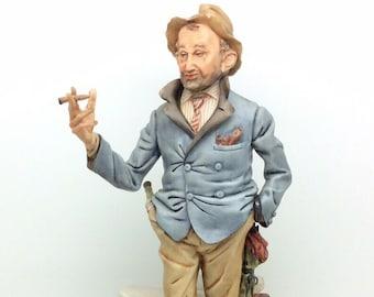 "Italian Porcelain Capodimonte Figurine Volta Man with Cigar 11"" 28cm"