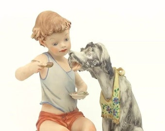 "Capodimonte Vintage Italian Porcelain Figurine Boy feeding Puppy Dog 6"" 15cm"
