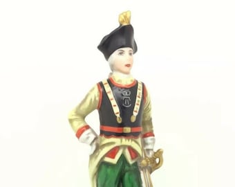 Continental German Porcelain Soldier Sword Hat Figure Blue N with Crown Vintage