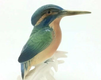 Vintage Karl Ens Bird Kingfisher Porcelain Figure Ornithology Alcedo 12cm 4.5""