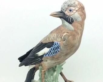 """Large Vintage Goebel Black Throated Jay Bird Porcelain Figurine CV94 1968 9.5"""""""