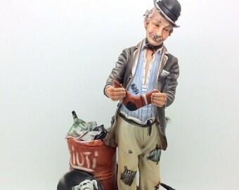 "Capodimonte Porcelain Figure Rori Rifiuti Man Dog Boomerang Rare 11"" 27cm"