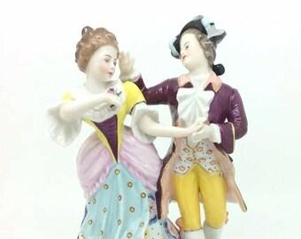 "Vintage Porcelain Figurine Courting Couple Dancing Chelsea Gold Anchor 19cm 7.5"""