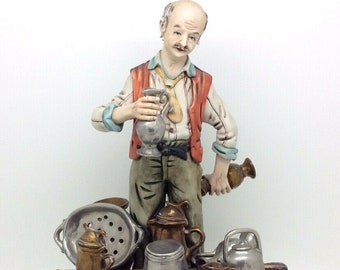 "Italian Porcelain Capodimonte Figurine Junkman Man Selling Jugs 11"" 28cm"