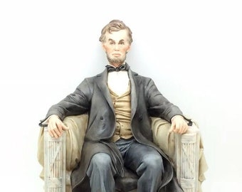 "Capodimonte Porcelain Figure Abraham Lincoln Merli 25cm 10"" Porcellana"