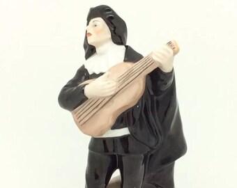 """Antique Italian Porcelain Naples Figurine Musician Figure Capodimonte 15cm 6"""""""