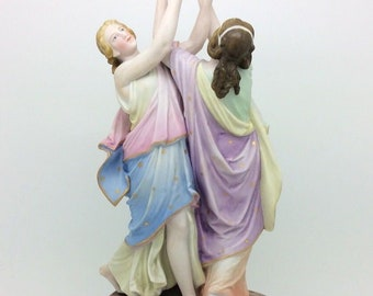 "Antique Continental Porcelain Figurine Muses Unmarked 10"" 26cm"