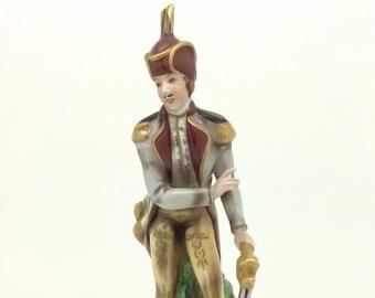 Vintage Continental German Porcelain Soldier Sword Figure Blue N with Crown