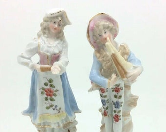 "Antique Continental Musician Bagpipe Gentleman Lady Porcelain Figurine 6"" 15cm"
