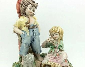 "Tiziano Galli Porcelain Sculpture ""Frittata"" Boy Girl Broken Egg Dog Capodimonte"