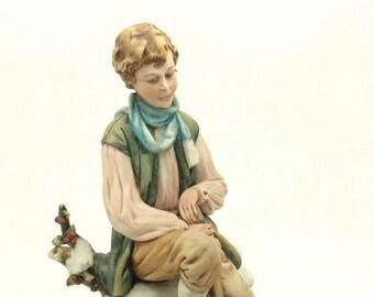"""Capodimonte Luciano Cazzola Winter Seasons Italian Porcelain Figurine 7"""" 18cm"""