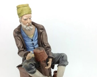 "Dish Maker Porcelain Figure Capodimonte Merli Continental Porcellana 8.5"" 22cm"