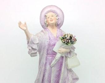 "Capodimonte Porcelain Figurine Queen Mother Merli 27cm 10.5"" Italiana Porcellana"